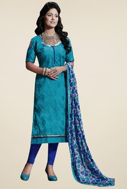 Aasvaa Blue & Royal Blue Embroidered Dress Material