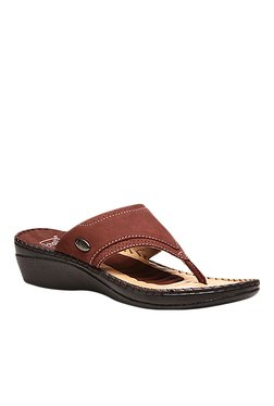 Scholl Dark Brown Wedge Heeled Thong Sandals