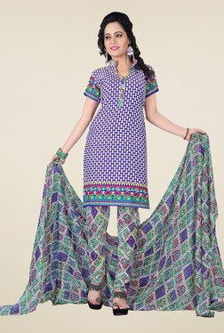 Aasvaa Purple & Yellow Printed Dress Material (Pack Of 2)