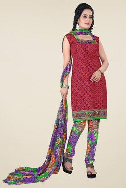 Aasvaa Red & Brown Printed Dress Material (Pack Of 2)