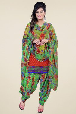 Aasvaa Red & Yellow Printed Dress Material (Pack Of 2)