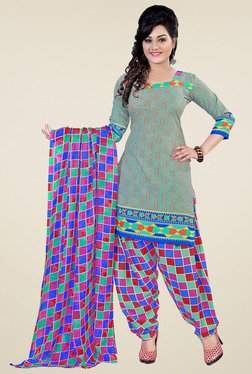 Aasvaa Mint Green & Pink Printed Dress Materials (Pack Of 2)