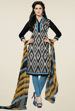 Aasvaa Black & Blue Cotton Embroidered Dress Material