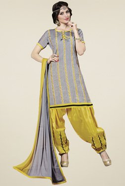 Aasvaa Grey & Yellow Cotton Embroidered Dress Material