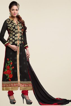 Aasvaa Black & Red Cotton Embroidered Dress Material