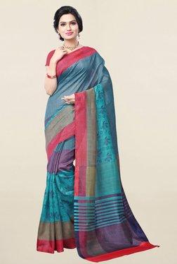 Ishin Sea Green Printed Bhagalpuri Art Silk Saree