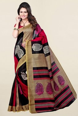 Ishin Black & Red Printed Bhagalpuri Art Silk Saree