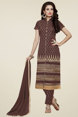 Aasvaa Brown Cotton Embroidered Dress Material