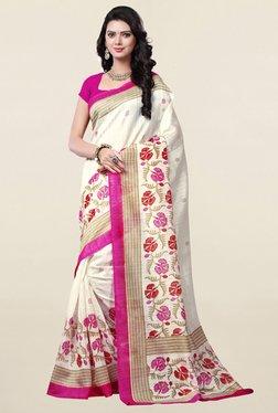 Ishin Off White Printed Bhagalpuri Art Silk Saree