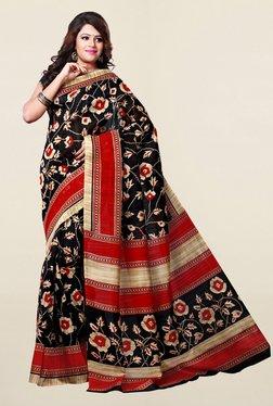 Ishin Black Floral Print Bhagalpuri Art Silk Saree