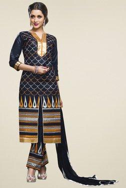 Aasvaa Navy Cotton Embroidered Dress Material