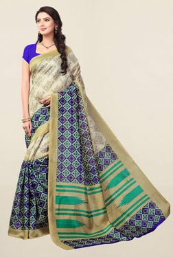 Ishin Beige & Purple Printed Bhagalpuri Art Silk Saree