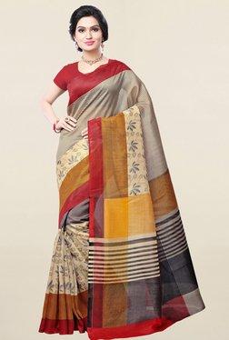 Ishin Beige Printed Bhagalpuri Art Silk Saree