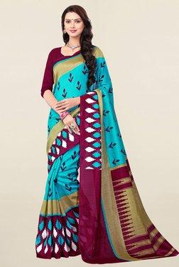 Ishin Turquoise Printed Bhagalpuri Art Silk Saree