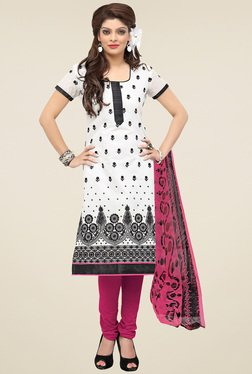 Aasvaa White & Pink Cotton Embroidered Dress Material