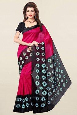 Ishin Pink Printed Bhagalpuri Art Silk Saree