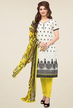 Aasvaa White & Yellow Cotton Embroidered Dress Material
