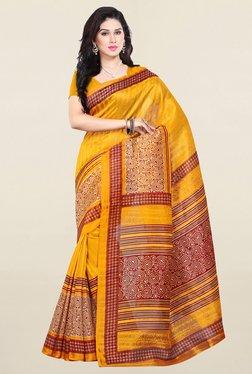 Ishin Yellow Printed Bhagalpuri Art Silk Saree - Mp000000001170449