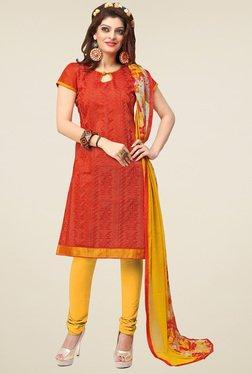 Aasvaa Orange & Yellow Cotton Embroidered Dress Material