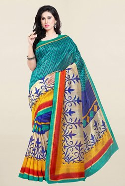 Ishin Sea Green & Blue Printed Bhagalpuri Art Silk Saree