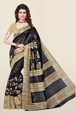 Ishin Black Printed Bhagalpuri Art Silk Saree