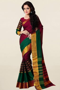 Ishin Red & Green Striped Bhagalpuri Art Silk Saree