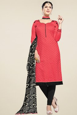 Aasvaa Light Red & Black Embroidered Dress Material