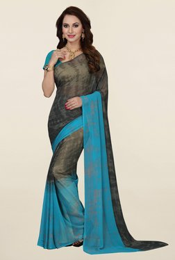 Ishin Grey & Blue Printed Faux Georgette Saree