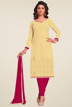 Aasvaa Cream & Dark Pink Embroidered Dress Material