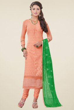 Aasvaa Peach Cotton Embroidered Dress Material