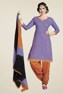 Aasvaa Lavender & Orange Cotton Embroidered Dress Material