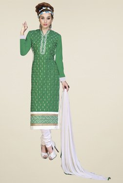Aasvaa Green & White Cotton Embroidered Dress Material