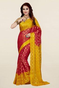 Ishin Red & Yellow Printed Poly Silk Saree