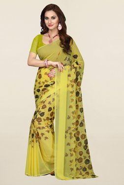 Ishin Yellow Floral Print Faux Georgette Saree