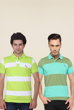 Lucfashion Green Short Sleeves Polo T-Shirts (Pack Of 2)