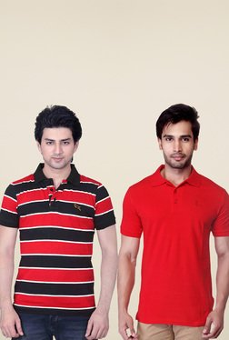 Lucfashion Brown & Red Regular Fit Polo T-Shirts (Pack Of 2)