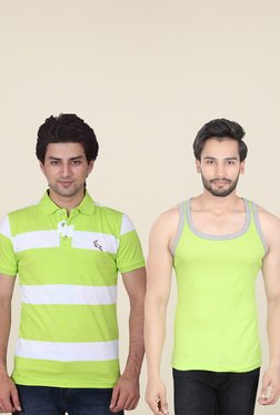 Lucfashion Green Regular Fit Polo T-Shirts (Pack Of 2)