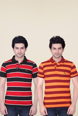 Lucfashion Red & Orange Cotton Polo T-Shirts (Pack Of 2)
