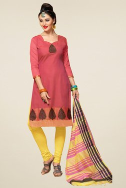 Aasvaa Pink & Yellow Printed Cotton Dress Material