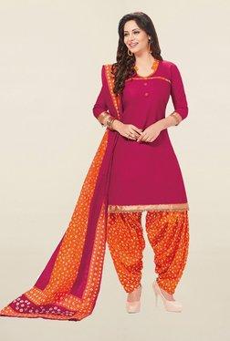 Ishin Pink & Orange Cotton Unstitched Salwar Suit