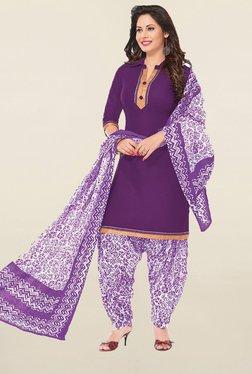 Ishin Purple Cotton Unstitched Salwar Suit