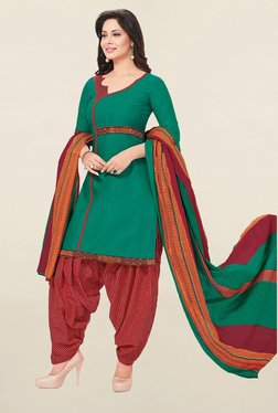 Ishin Green & Red Cotton Unstitched Salwar Suit