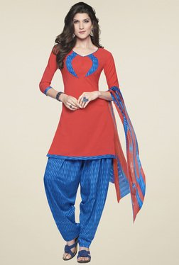 Aasvaa Red & Blue Printed Cotton Dress Material