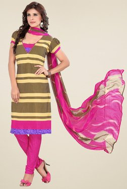 Aasvaa Yellow & Pink Printed Cotton Dress Material