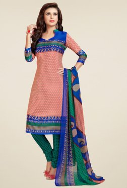 Aasvaa Orange & Teal Printed Cotton Dress Material