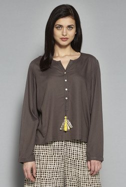 Bombay Paisley By Westside Brown Solid Kurti