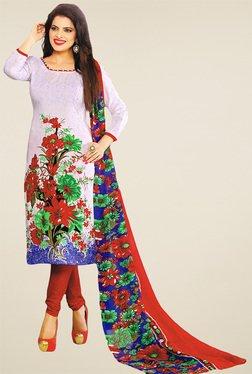Salwar Studio White & Red Floral Printed Dress Material