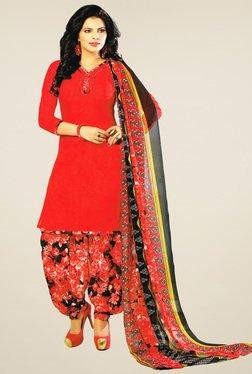Salwar Studio Red & Black Floral Printed Dress Material