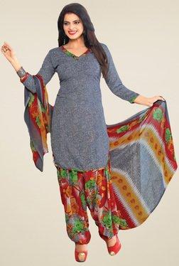 Salwar Studio Grey & Red Floral Printed Dress Material