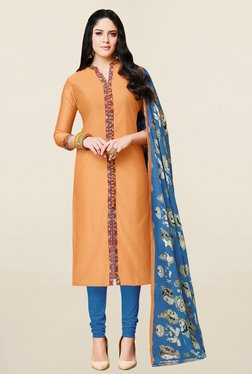 Saree Mall Orange & Blue Solid Cotton Dress Material